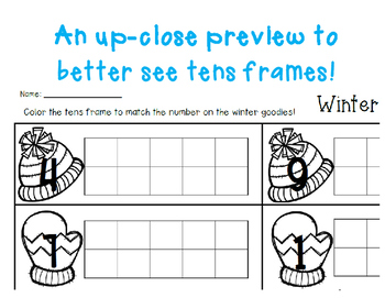 Winter/Christmas Goodies Tens Frame - Number Sense (1-10)