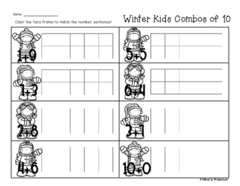 Winter/Christmas Kids Combos of Ten - Number Sense