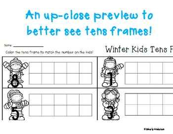 Winter/Christmas Kids Tens Frame - Number Sense (1-10)