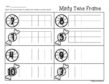 Winter/Christmas Minty Tens Frame - Number Sense (1-10)