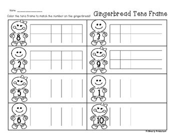 Winter/Christmas Gingerbread Tens Frame - Number Sense (1-10)