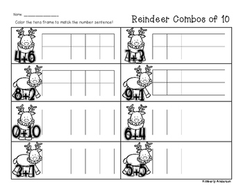Winter/Christmas Reindeer Combos of Ten - Number Sense