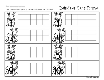 Winter/Christmas Reindeer Tens Frame - Number Sense (1-10)