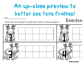 Winter/Christmas Reindeer Tens Frame - Number Sense (1-10)