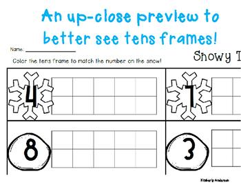 Winter/Christmas Snow Tens Frame - Number Sense (1-10)