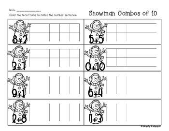 Winter/Christmas Snowman Combos of Ten - Number Sense