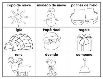 Winter/Christmas-Themed Vocabulary Cards: SPANISH