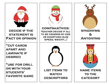 WinterHoliday Language Cards