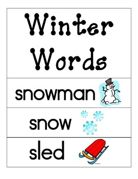 Winter/January Word Wall Cards
