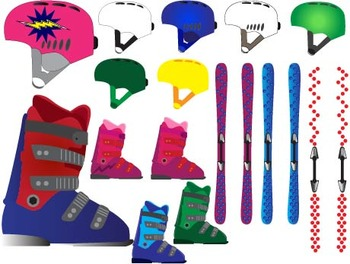 Winter,skiing, snowboards Clip Art ski sport Equipment Gear birthday party-033-