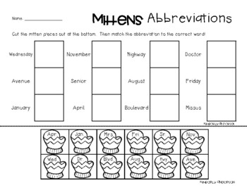 Wintertime Abbreviations Practice Worksheets