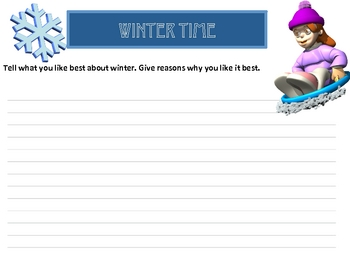 Wintertime Reading Comprehension Story with Questions/Writing Prompt