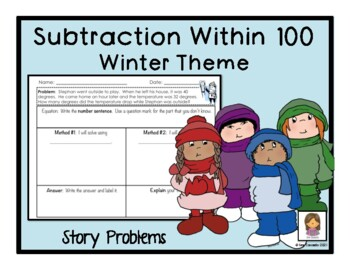 Winter Subtraction within 100 math word problems English Version