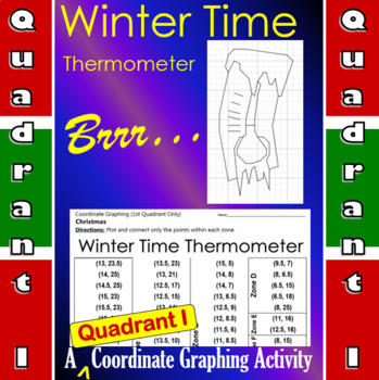 Wintertime Thermometer - A Quadrant I Coordinate Graphing Activity