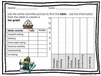Wintery Fun Bar Graph and Pictograph Activity