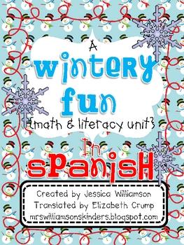 Wintery Fun literacy and math unit in SPANISH