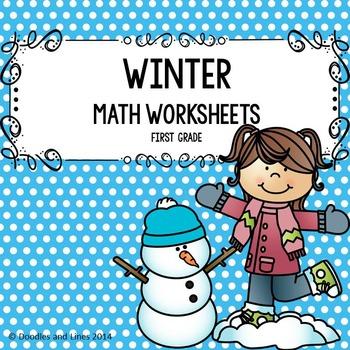 """Wintery"" Math Worksheets - First Grade"