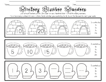 Wintery Number Wonders {finding missing parts of number patterns}