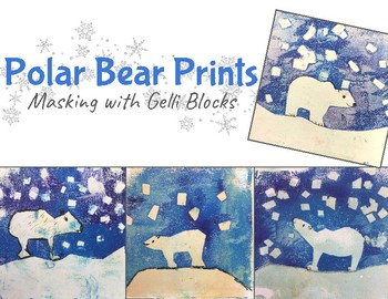 Wintery Polar Bear Prints with Gelli plates: An Art Lesson for Kids!
