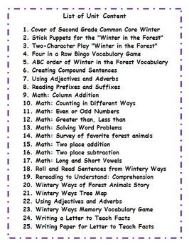 Second Grade January Common Core Activities