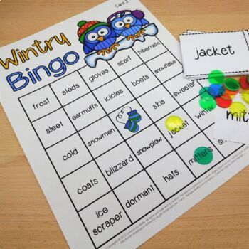 Winter Bingo Game for Cold Weather {Color Ink Version}