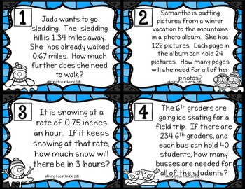 Wintry WORD PROBLEMS Winter Math Center:  20 Mixed Operations Task Cards