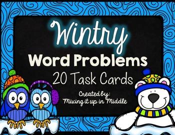 Wintry WORD PROBLEMS Winter Math Center:  20 Mixed Operati