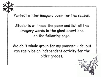 Winter seasonal Snowflake Imagery Poem and Activity