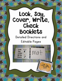 Wipe Off Look Say Cover Write Check Booklet Editable File and Directions