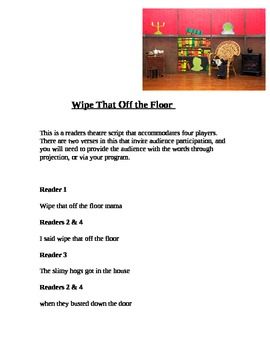 """""""Wipe That Off the Floor"""" A Readers Theatre Script [Theater Scripts]"""