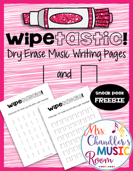 Wipetastic! Dry Erase Music Writing Pages Ta and Ti-Ti