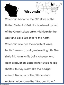Wisconsin State Research Informational Reading Brochure Activity