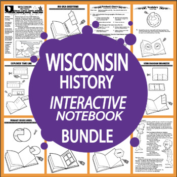 Wisconsin History–Interactive Notebook Wisconsin State Study Unit + AUDIO!
