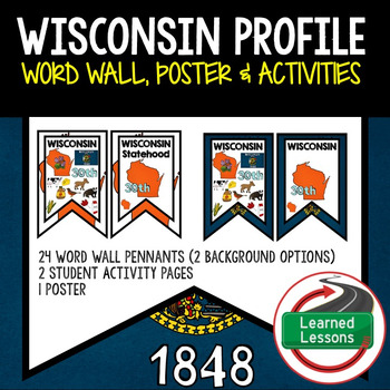 Wisconsin History Word Wall, State Profile, Activity Pages
