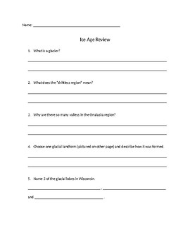 Wisconsin Ice Age Review questions