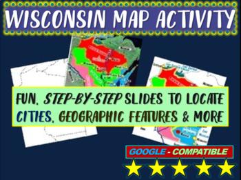 Wisconsin Map Activity- fun, engaging, follow-along 14-slide PPT