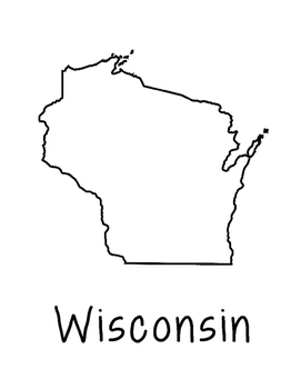 Wisconsin Map Coloring Page Craft - Lots of Room for Note-