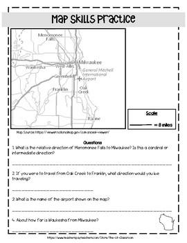 Wisconsin Map Skills Practice