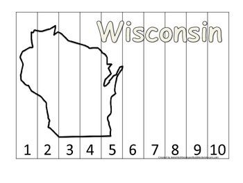 Wisconsin Number Sequence Puzzle.  Learn the States preschool printable game.