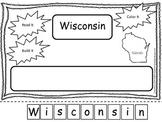 Wisconsin Read it, Build it, Color it Learn the States preschool worksheet.