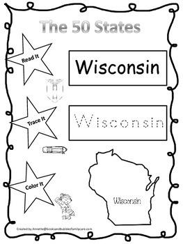 Wisconsin Read it, Trace it, Color it Learn the States preschool worksheeet