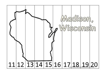 Wisconsin State Capitol Number Sequence Puzzle 11-20.  Geography and Numbers.