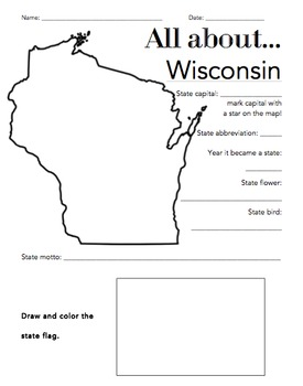 Wisconsin State Facts Worksheet: Elementary Version