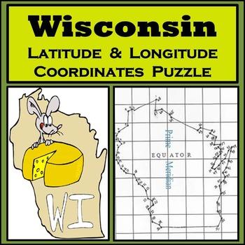 Wisconsin State Latitude and Longitude Coordinates Puzzle