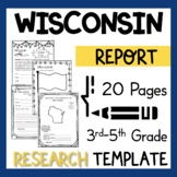 Wisconsin State Research Report Project Template + bonus timeline craftivity WI
