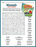 WISCONSIN State Symbols Word Search Puzzle Worksheet Activity