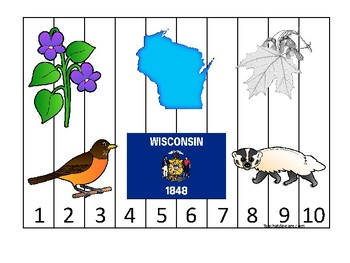 Wisconsin State Symbols themed 1-10 Number Sequence Puzzle Preschool Game.