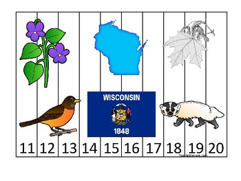 Wisconsin State Symbols themed 11-20 Number Sequence Puzzle Preschool Game.