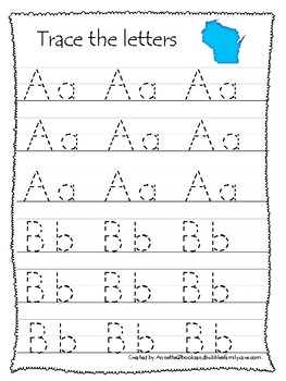 Wisconsin State Symbols themed A-Z Tracing Preschool Handwriting Worksheets.