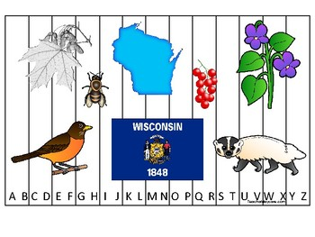 Wisconsin State Symbols themed Alphabet Sequence Puzzle Preschool Phonics Game.
